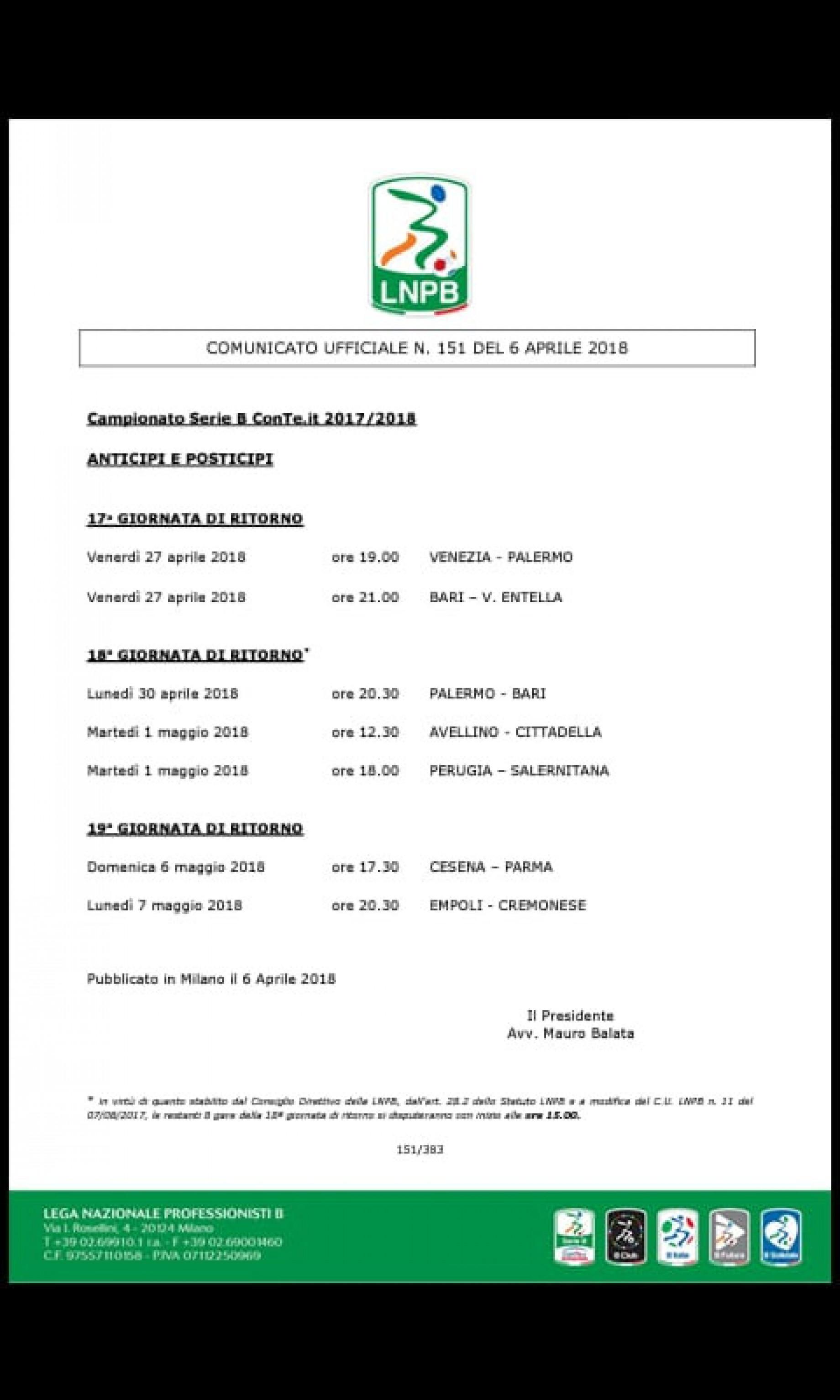 Calendario Anticipi E Posticipi Serie A.Gianluca Di Marzio Serie B Anticipi E Posticipi Dalla 17