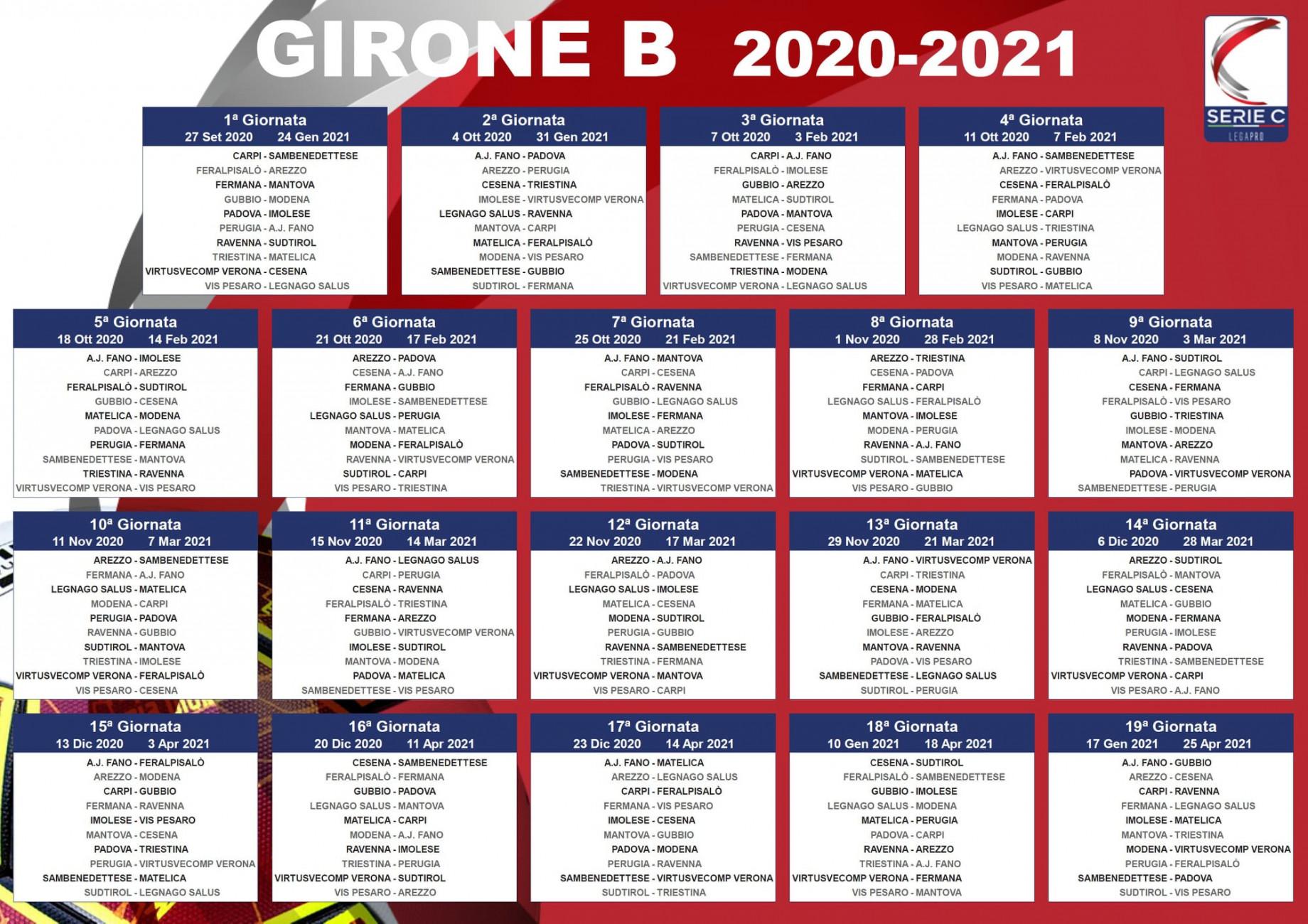 Calendari Serie C 2020/2021: date e partite dei tre gironi