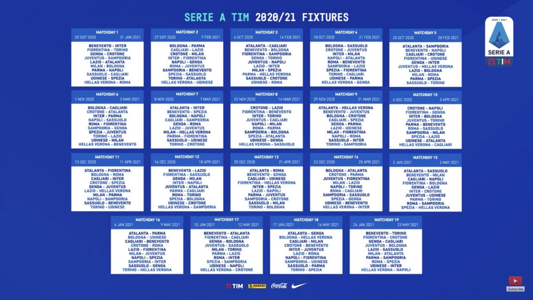 Gianluca Di Marzio :: Serie A 2020/2021, il calendario completo