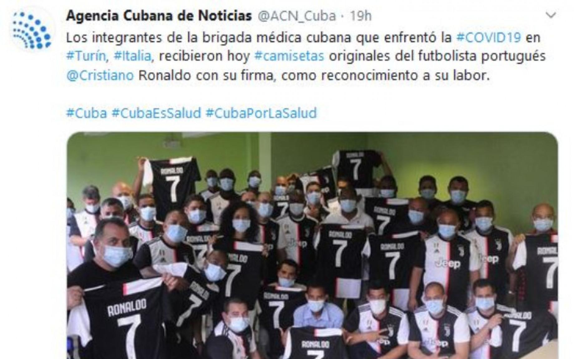 Cristiano Ronaldo maglia donazione medici cubani screen