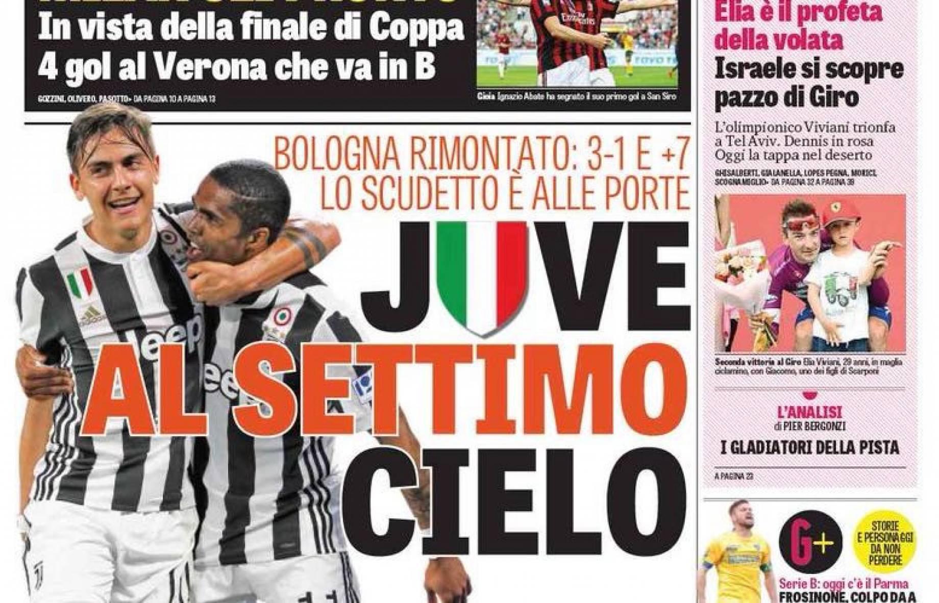 acac9b8a0b Gianluca Di Marzio :: Prime Pagine   Juve al settimo cielo. Batticuore  Scudetto, A Napoli un altro Toro