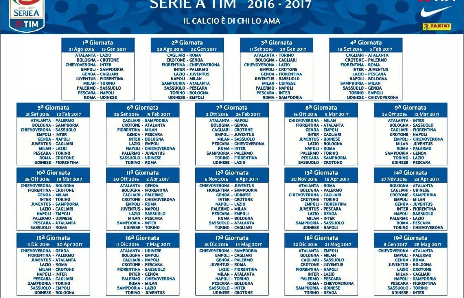Calendario Anticipi E Posticipi Serie A.Serie A Il Calendario Degli Anticipi E Dei Posticipi Fino A